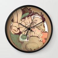 yaoi Wall Clocks featuring Hello Coffee by kami dog