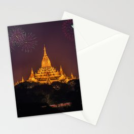 Historic Stunning Fireworks Buddhist Ananda Temple Bagan Myanmar Asia HD Stationery Cards