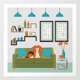 Happy Beagles Make A House A Home Art Print
