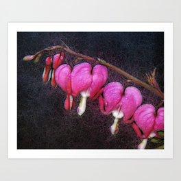 Electric Bleeding Hearts Art Print