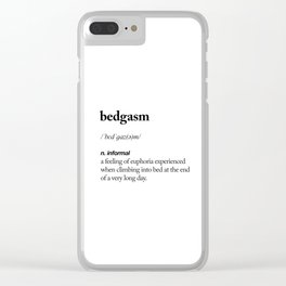 Bedgasm black and white contemporary minimalism typography design home wall decor bedroom Clear iPhone Case