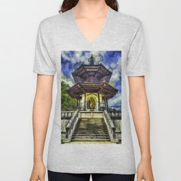 The Pagoda Vincent Van Gogh Unisex V-Neck