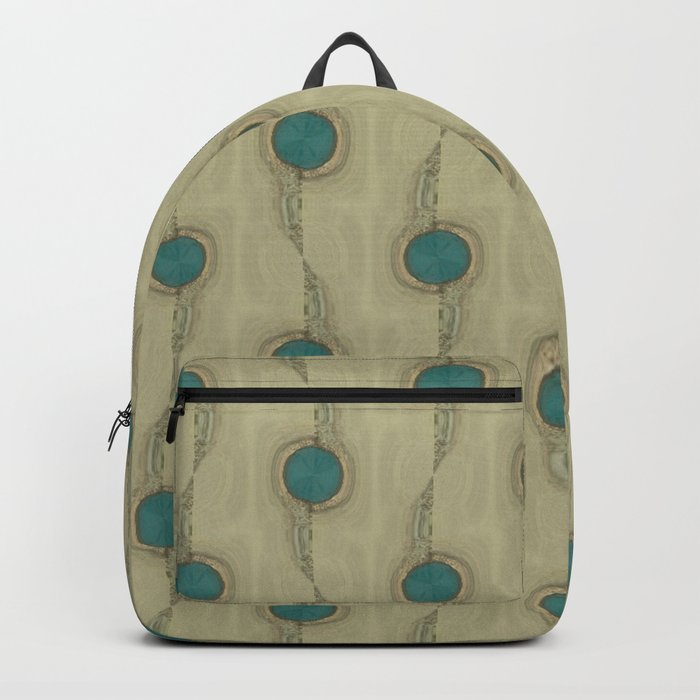 Teal Turquoise Circles Pattern Modern Abstract Backpack