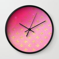 fleur de lis Wall Clocks featuring Fleur de Lis by Mr and Mrs Quirynen