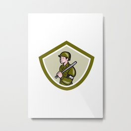 Military Police With Night Stick Baton Shield Metal Print