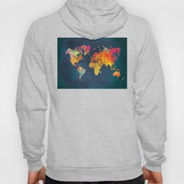 World Map blue #world #map Hoody
