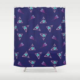 Funky Triangles (Blue) Shower Curtain