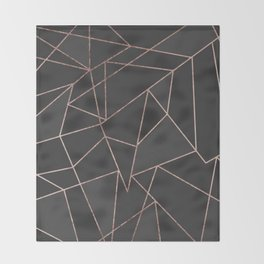 Chic Rose Gold Geometric Outline on Black Charcoal Throw Blanket