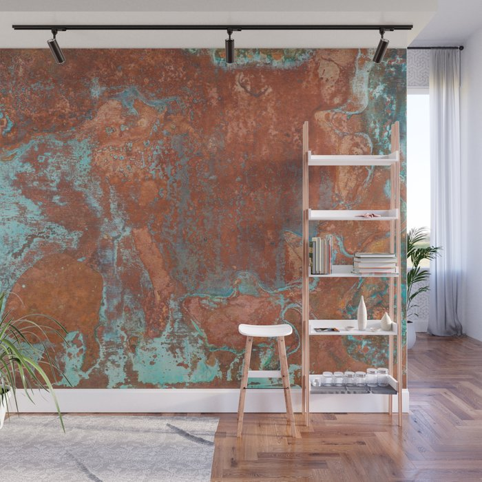 Tarnished Metal Copper Texture - Natural Marbling Industrial Art Wall Mural