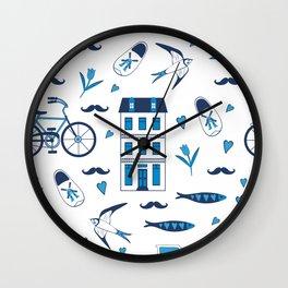 Amsterdam in blue Wall Clock