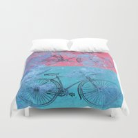 bikes Duvet Covers featuring My colorful bikes by Fernando Vieira
