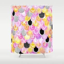 Citrus, Cotton Candy & Licorice Watercolor Scales Shower Curtain