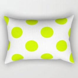 Large Polka Dots - Fluorescent Yellow on White Rectangular Pillow
