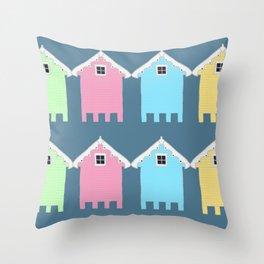British Seaside Beach Huts Throw Pillow