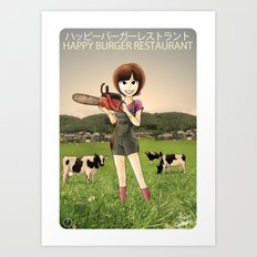 Happy Burger Restaurant  Art Print