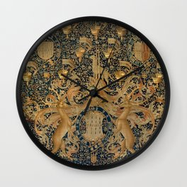 Vintage Golden Deer and Royal Crest Wall Clock