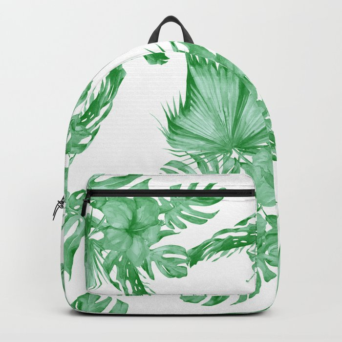 Palm Leaves and Hibiscus Tropical Green Backpack