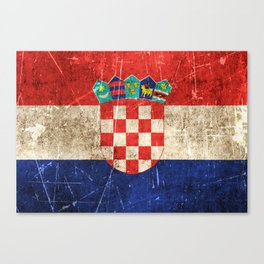 Vintage Aged and Scratched Croatian Flag Canvas Print