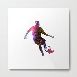 Mens Football Man Passing Ball Quote Art Design In Metal Print