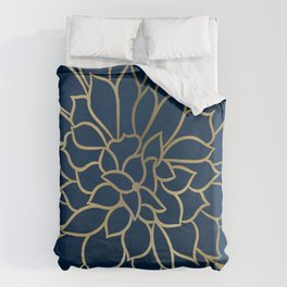 Floral Prints, Line Art, Navy Blue and Gold Duvet Cover