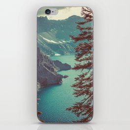 Vintage Blue Crater Lake and Trees - Nature Photography iPhone Skin