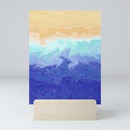 Seascape Liquefied Layers Coastal Summer Abstract Digital Painting Mini Art Print