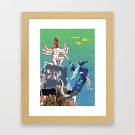 Water Wizard and Monster Man Framed Art Print