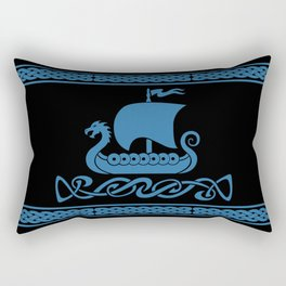 Drgon Boat - Blue Rectangular Pillow