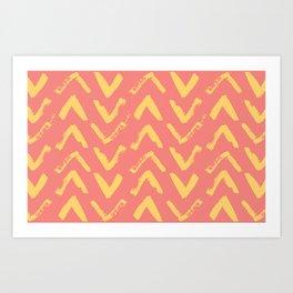 Modern Brush Stroke Chevrons - Coral & Yellow Art Print