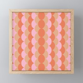 Abstract Floral Geometric Circles Pattern in Muted Orange and Pink Framed Mini Art Print
