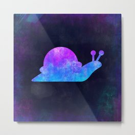 SNAIL IN SPACE // Animal Graphic Art // Watercolor Canvas Painting // Modern Minimal Cute Metal Print