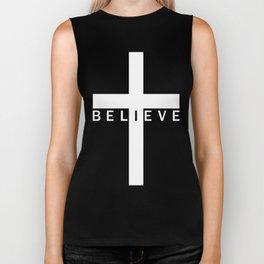 Believe Cross (Black & White) Biker Tank