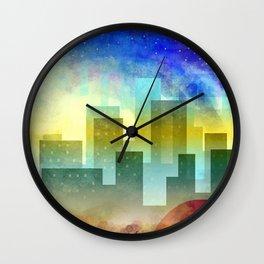 Colorful night digital illustration II. Wall Clock