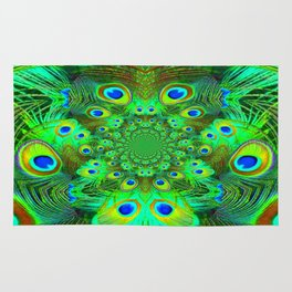 Ornate Green-Gold-Purple Peacock Feathers Art Rug