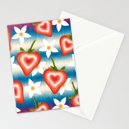 Sweet cute ripe red sliced summer strawberries and white pretty strawberry blossoms fruity floral distressed bright white and blue pattern design. Stationery Cards