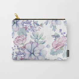 Pretty Blue Pink Succulents Garden Carry-All Pouch