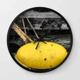 Mooring Rope And Yellow Bollard Wall Clock