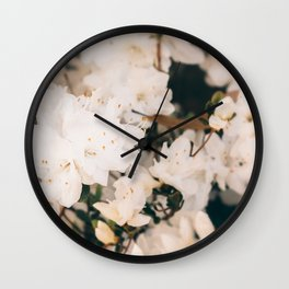 White Mini azaleas #floral Wall Clock