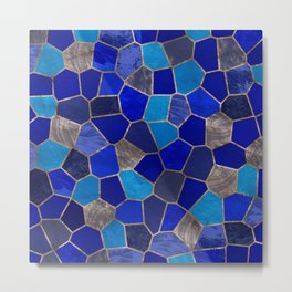 Mosaic Pattern - Golden Blues Metal Print