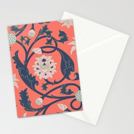 Oriental Lotus Pattern In Coral Pink Stationery Cards