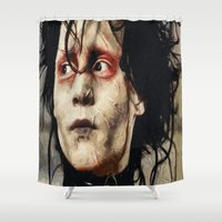johnny depp Shower Curtains featuring Johnny Depp Edward Scissorhands by Joe Misrasi