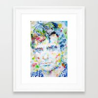 kerouac Framed Art Prints featuring JACK KEROUAC - watercolor portrait by LAUTIR