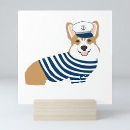 Corgi Sailor - corgi sticker, corgi sailor, corgi nautical, cute corgi, dog sticker, corgi dog Mini Art Print