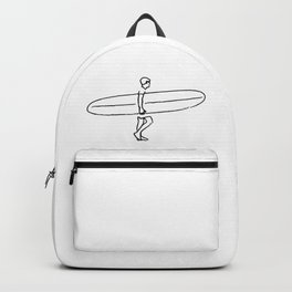 Long Board Surfer Sketch Backpack