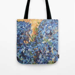 Blue Hydrangea Flowers 2, Blue Abstract, Modern Impressionism Painting Tote Bag