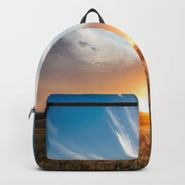 Grand Exit - Golden Sunset on the Oklahoma Prairie Backpack