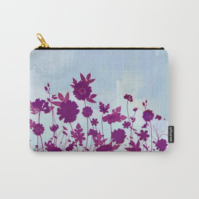 wild little flowers against watercolor sky Carry-All Pouch