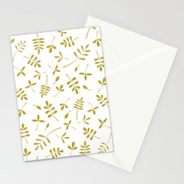 Gold Leaves Design on White Stationery Cards