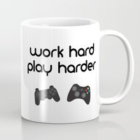 die hard Mugs featuring Work hard play harder by eARTh