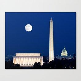 Harvest Moon rising over Washington DC Canvas Print